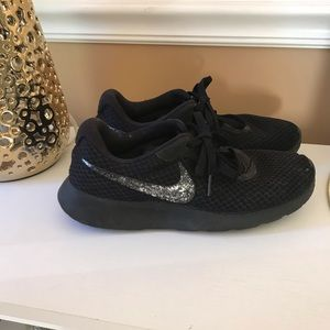 Black nike with silver glitter swoosh